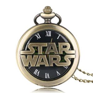 Vintage Quartz Pocket Watch Gift Copper Necklac Men Star Wars Modern Style Retro