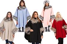 Womens/Ladies Wrap Poncho Cape Coat Shawl Jacket Fleece Faux Fur Collar/Cuffs