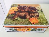 "Vintage Tin  ""Puppies"" 9 inches"
