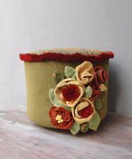 Flower Power Ottoman, Earthy colors and Green Pouf Stool Bohemian Furniture