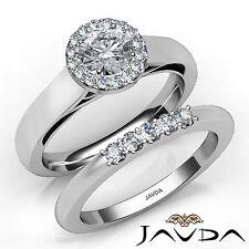 1.11ct Halo Round Diamond Engagement Bridal Set Ring GIA F VS2 14k White Gold