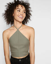 EXPRESS XS ONE ELEVEN GREEN CROPPED TRIANGLE HALTER TOP V-NECK CAMI Shirt 0-2