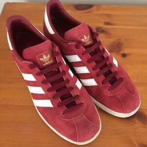 Adidas Originals Munchen Trainers UK 8.5 Suede Red White Stripes & Soles