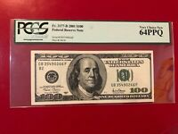 FR 2177-B 2001 $100 FEDERAL RESERVE NOTE PCGS CURRENCY VERY CHOICE NEW 64PPQ
