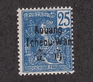 France, Kwangchowan Sc 8 MNH. 1906 25c deep blue France with black overprint