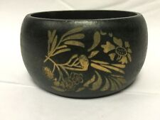 River Island Stunning Wooden Small Thick Bangle With Carved Flower Design