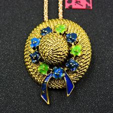 New Betsey Johnson Enamel Cute Flower Cap Charm Pendant Sweater Chain Necklace