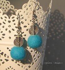 Ohrringe Filzohrringe Türkis  Blau Spirale Tribal Filzperlen + handmade +