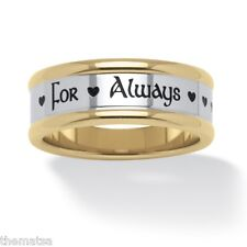 For Always Hearts Stainless Steel Black Gold Ip Ring Size 6 7,8,9,10,11