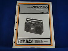 Superscope Marantz CRS-2200 Stereo Cassette Recorder Service Manual