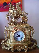 OROLOGIO A PENDOLO DA CAMINO fine 800 bronzo dorato e ottone misura cm 44 hnx31
