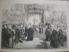 Queen Victoria in Birmingham Corporation Address at the Town Hall 1858 old print