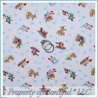 BonEful Fabric FQ Cotton Quilt VTG White Blue Snowflake Man Winter Xmas Dog Sled
