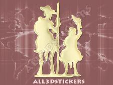 Pegatina Don Quijote y Sancho Panza 3D Relieve - Color Beige