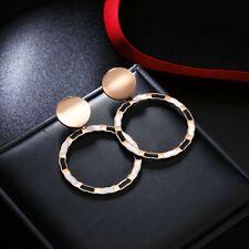 BOHO Rose Gold Plated White Black Big Hoop Fashion Earring