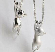 Pendant Necklace Women Charm Brushed Pendant Cat Chain Matte Jewelry