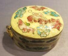 Vintage Cloisonne Pill Box Pendant, Just Add Chain, Ivory, Flowers, Rare, Euc