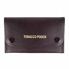 GHS - Soft Black Leather Tobacco Pouch with Pliable Plastic Lining - Holds 50g
