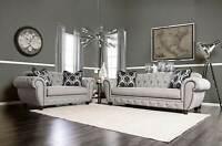 NEW Oversize Gray Fabric Living Room Furniture 2 piece Sofa Loveseat Set IGEF