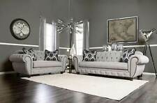NEW Transitional Living Room Set - Oversize Gray Fabric Sofa Couch Loveseat IGEF