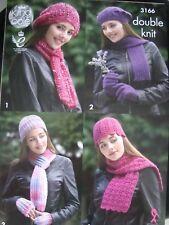 King Cole 3166 Lady's Hat & Scarf Sets DK Knitting Pattern