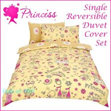 Princess 'crown' Cream Reversible Rotary Single Bed Duvet Cover Girls Bedding