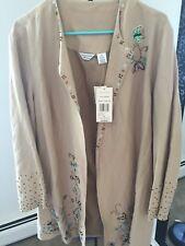 New 128$ Laura Ashley Biege Beaded Ladies Long Jacket Womens Size 2X