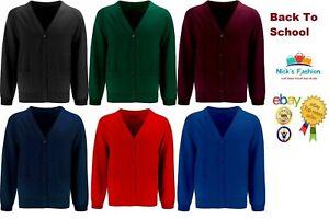 Kids Boys School Cardigan School Uniform Fleece Sweat Shirt Cardigan ALL SIZES