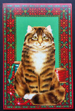 Vtg Cat Christmas Card Large One Beautiful Brown Snowshoe White Mittens Tabby