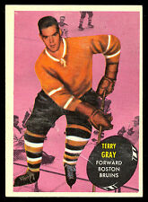 1961 62 TOPPS HOCKEY #16 TERRY GRAY EX-NM BOSTON BRUINS CARD