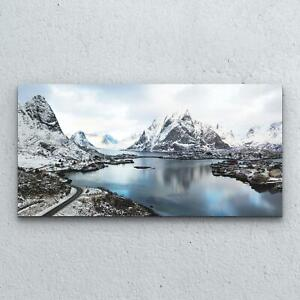 Tempered Glass Print Home Modern  100x50 Winter Snowy Mountains