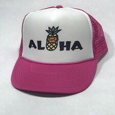 Aloha Hawaii Beach Party Hat Vintage Trucker Hat Snapback Monkey Pineapple Pink