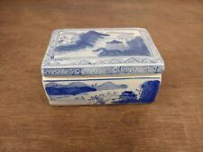Chinese Blue and White Lidded Porcelain Box w/ Stamp Mark