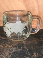 """Vintage Nestle Co. Etched Clear Glass World Map Coffee Cup Mug 3"""" Tall New"""