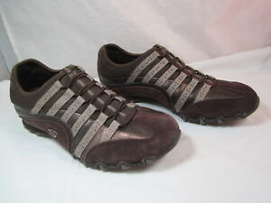 """Womens Skechers Slip On Chocolate Brown Comfortable Shoes Size 7M 1"""" Heel"""