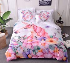 Newest 3D Unicorn Bedding Set Floral Pink White Color Duvet Cover