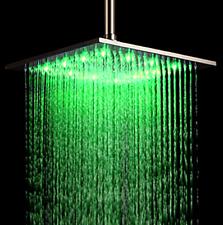 Rozin 12-inch LED Color Bathroom Square Shower Head Rainfall Over-head Spray Br