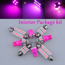 Premium Pink Lights SMD Car Interior LED Package 6PC Kit for Honda Prelude 97-01