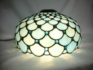 "15"" Arts & Crafts Blue Stained Slag Glass Jewel Lamp Shade Tiffany Style Leaded"