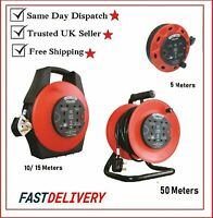 4 WAY 5M/10M/25M CABLE EXTENSION REEL LEAD MAINS SOCKET H/ DUTY ELECTRICAL INFA