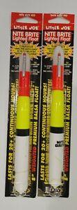 "(2) Little Joe Nite Brite Red Lighted 8"" Weighted Premium Balsa Fishing Float"