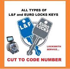 L&f Euro serrures Clé Coupe pour code mobilier de bureau Classeur Bureau Casier Keys