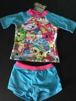 Shopkins Girls 2 Piece Shorts & Top Swimsuit - Blue/Pink - UK 2-3 years