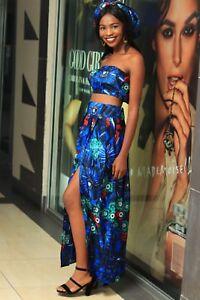 Women African print high slit skirt with matching tube crop top. Handmade S-XL