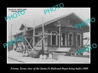 OLD LARGE HISTORIC PHOTO OF FRIONA TEXAS, THE RAILROAD DEPOT STATION c1889