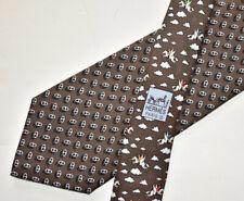 Men's Hermes Paris 5093 Brown   100% Silk Neck Tie Made in France