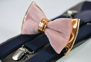Dusty Pink Velvet Rose Gold Leather Bow tie + Navy Blue Suspenders Baces AllAges