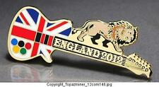 OLYMPIC PINS BADGE 2012 LONDON ENGLAND UK UNION JACK FLAG GUITAR & LION (GOLD)