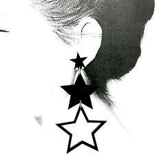 Lady Fashion Jewellery Girls Long Black Star Acrylic Stud Earrings For Women