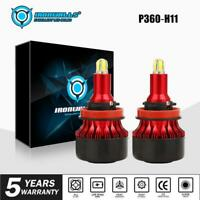 2PCS H11 H9 H8 180W 21600LM LED Headlight Fog Bulbs Kits Hi/Lo Beam 6500K White